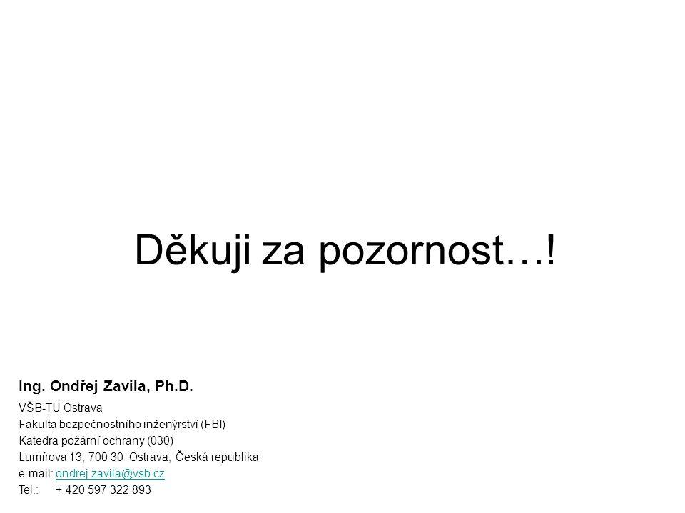 Děkuji za pozornost…! Ing. Ondřej Zavila, Ph.D. VŠB-TU Ostrava Fakulta bezpečnostního inženýrství (FBI) Katedra požární ochrany (030) Lumírova 13, 700