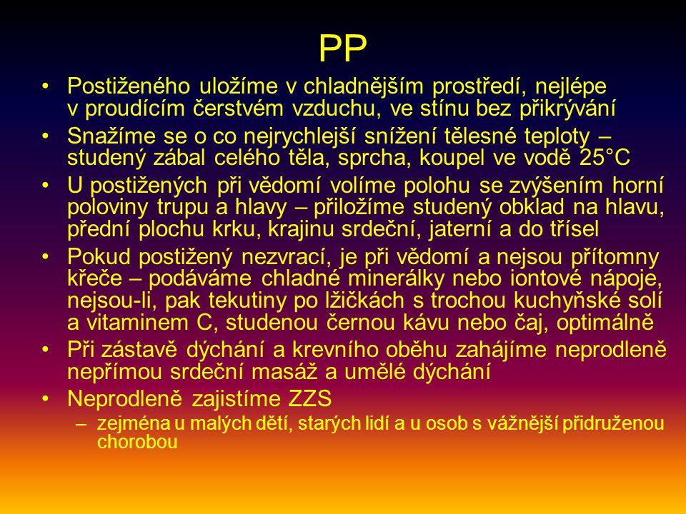 PP Postiženého uložíme v chladnějším prostředí, nejlépe v proudícím čerstvém vzduchu, ve stínu bez přikrývání Snažíme se o co nejrychlejší snížení těl