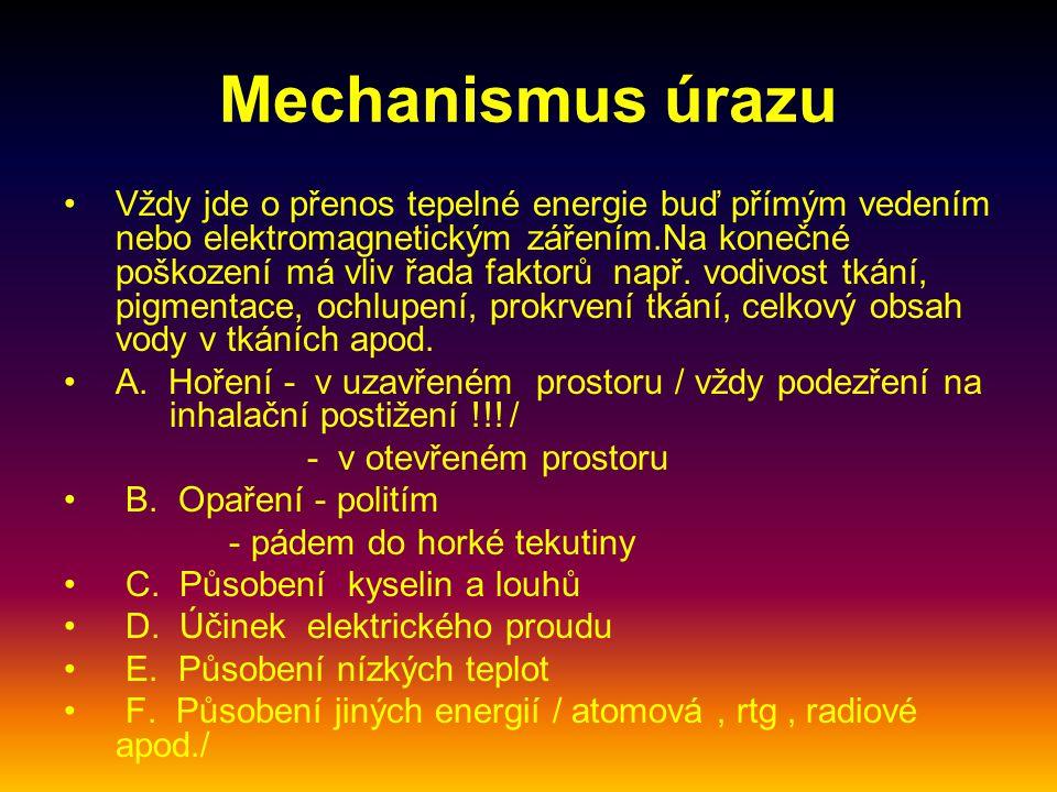 Mechanismus úrazu Vždy jde o přenos tepelné energie buď přímým vedením nebo elektromagnetickým zářením.Na konečné poškození má vliv řada faktorů např.