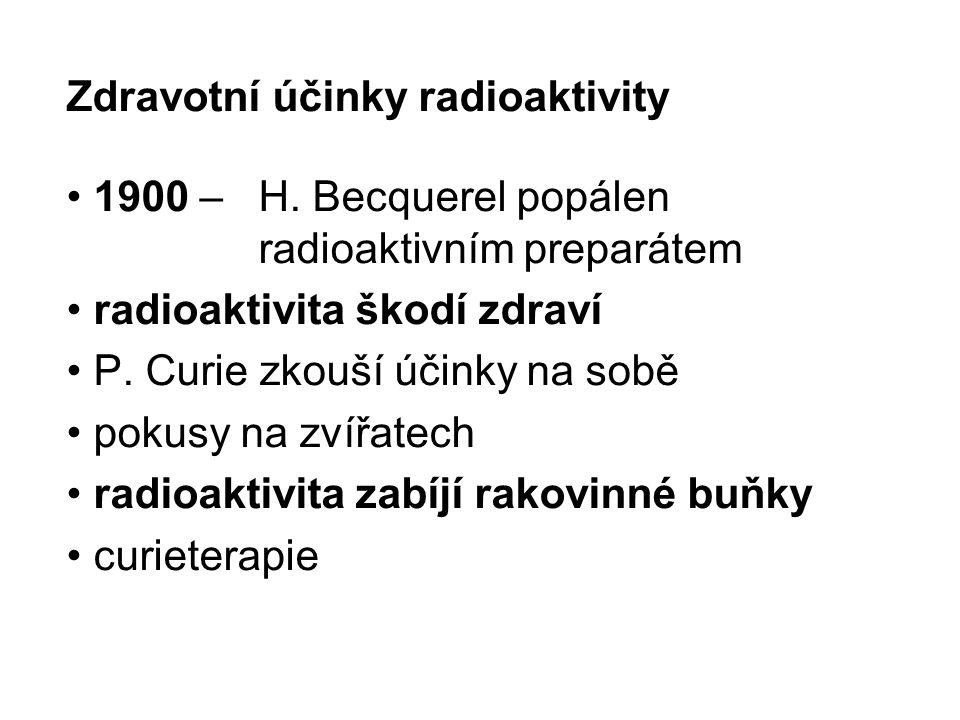 Zdravotní účinky radioaktivity 1900 – H. Becquerel popálen radioaktivním preparátem radioaktivita škodí zdraví P. Curie zkouší účinky na sobě pokusy n