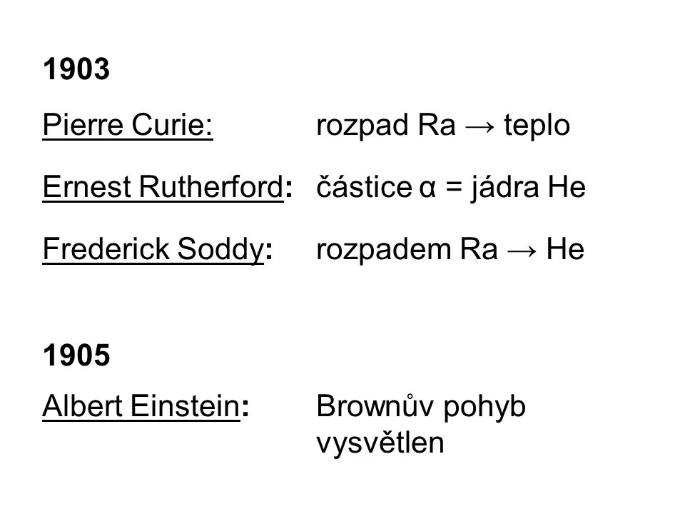 1903 Pierre Curie:rozpad Ra → teplo Ernest Rutherford:částice α = jádra He Frederick Soddy: rozpadem Ra → He 1905 Albert Einstein:Brownův pohyb vysvět