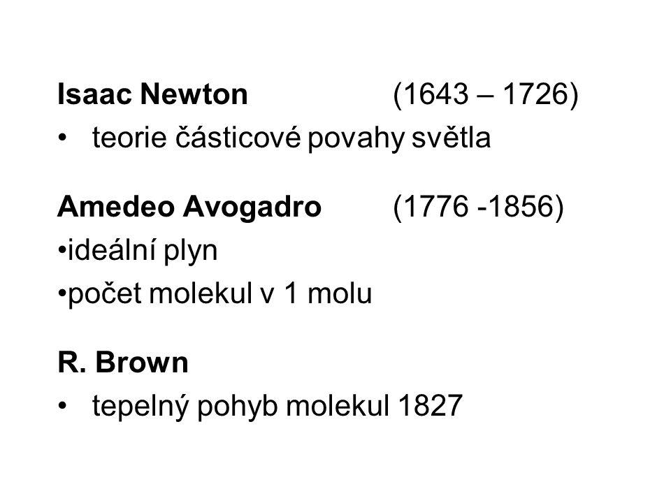 Isaac Newton (1643 – 1726) teorie částicové povahy světla Amedeo Avogadro ( 1776 -1856) ideální plyn počet molekul v 1 molu R. Brown tepelný pohyb mol