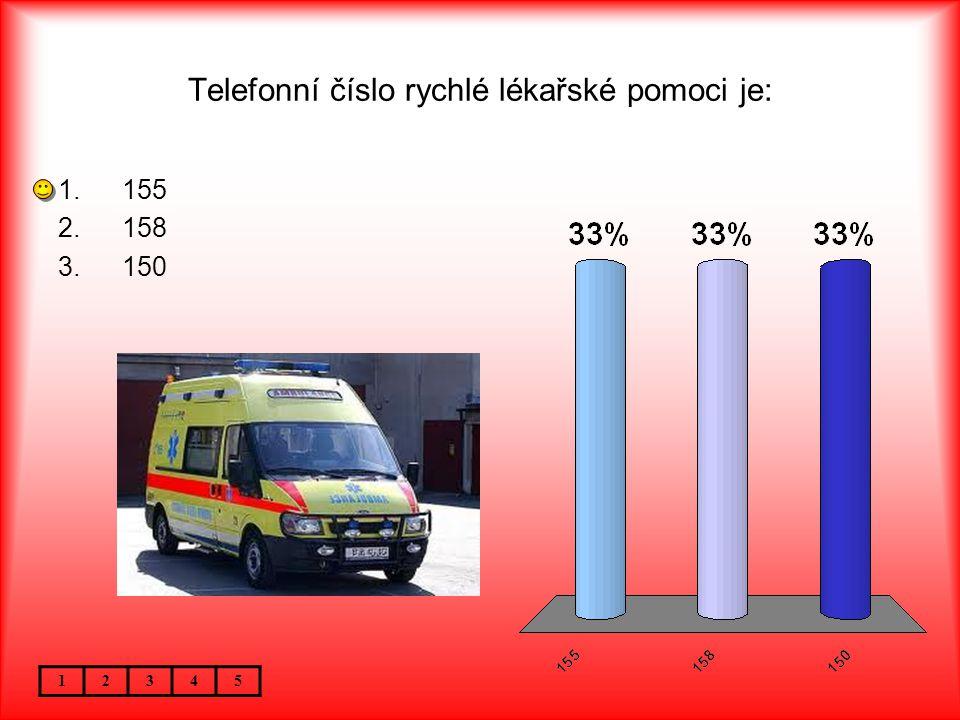 Telefonní číslo rychlé lékařské pomoci je: 12345 1.155 2.158 3.150