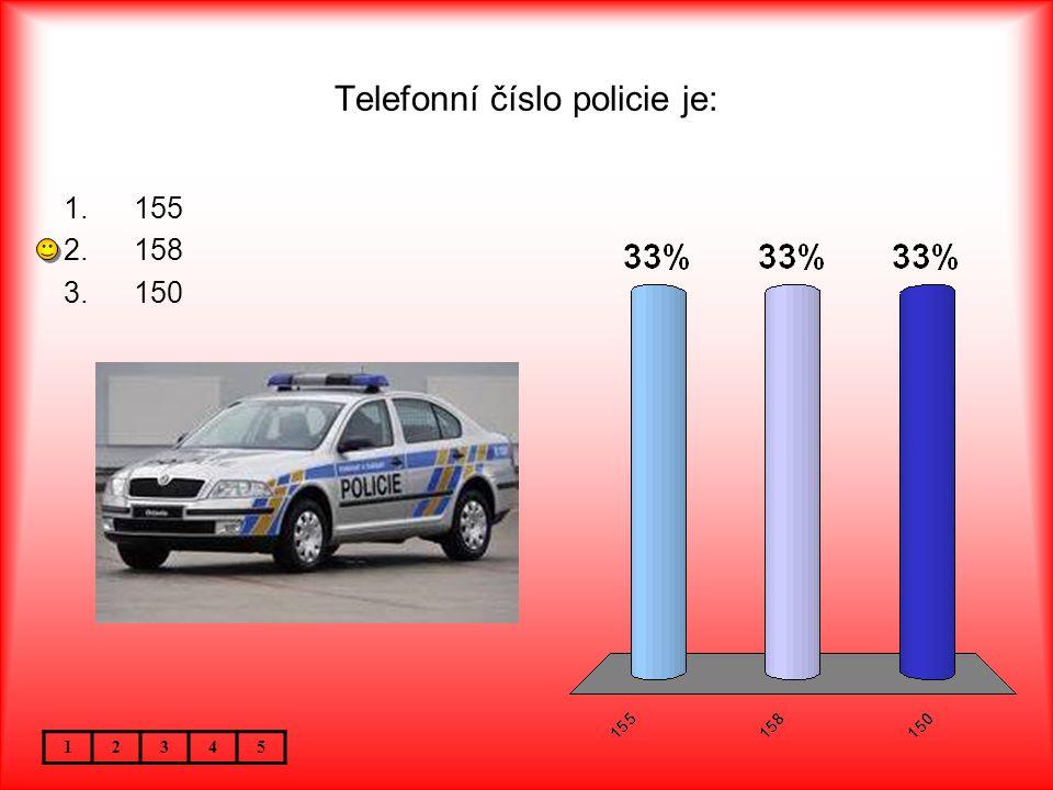 Telefonní číslo policie je: 12345 1.155 2.158 3.150