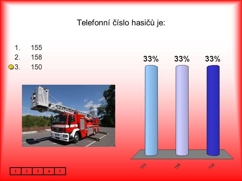 Telefonní číslo hasičů je: 12345 1.155 2.158 3.150