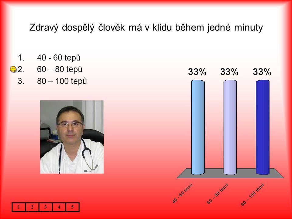 Zdravý dospělý člověk má v klidu během jedné minuty 1.40 - 60 tepů 2.60 – 80 tepů 3.80 – 100 tepů 12345