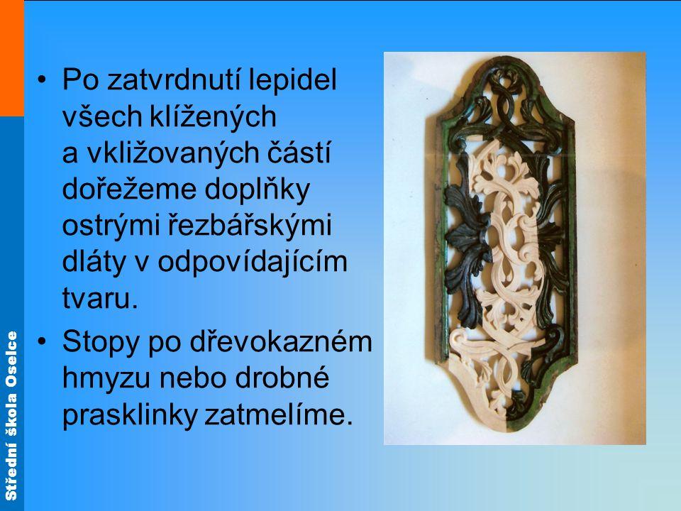 Střední škola Oselce Ostatní materiály Dřevořezbu s polychromií můžeme vymodelovat moduritem nebo se štafírskou masou, s nímž se dobře pracuje.