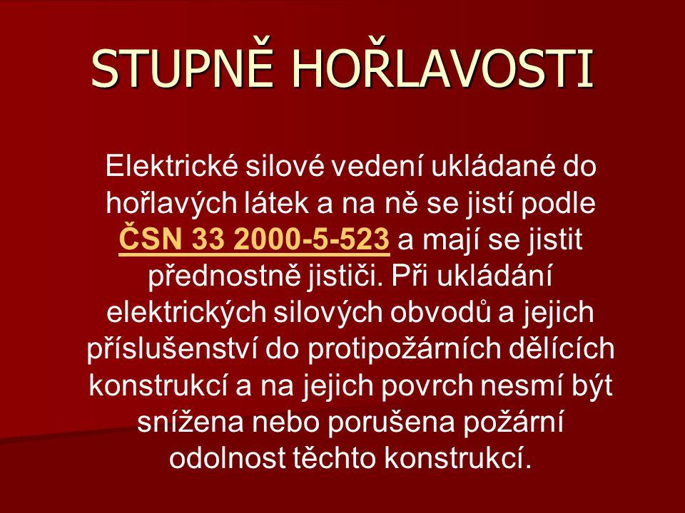 STUPNĚ HOŘLAVOSTI Elektrické silové vedení ukládané do hořlavých látek a na ně se jistí podle ČSN 33 2000-5-523 a mají se jistit přednostně jističi. P