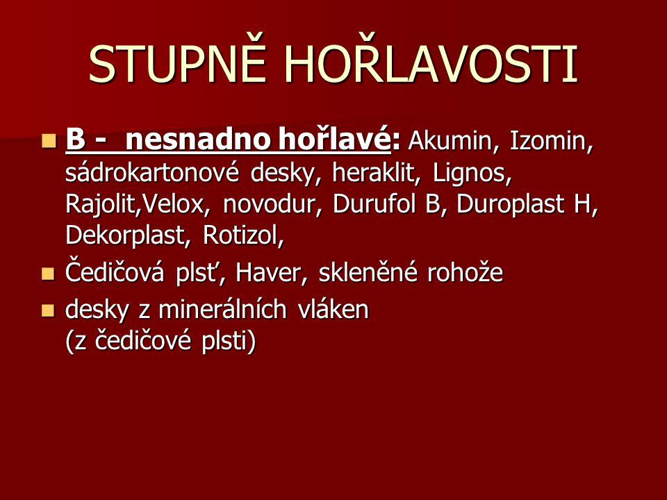 B - nesnadno hořlavé: Akumin, Izomin, sádrokartonové desky, heraklit, Lignos, Rajolit,Velox, novodur, Durufol B, Duroplast H, Dekorplast, Rotizol, B -