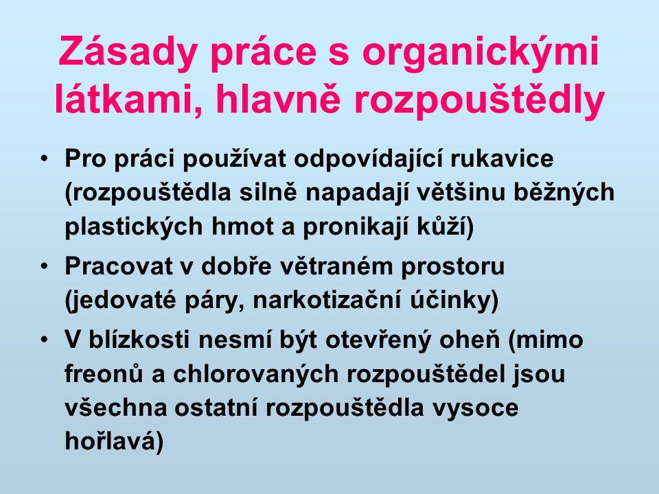 Zásady práce s organickými látkami, hlavně rozpouštědly Pro práci používat odpovídající rukavice (rozpouštědla silně napadají většinu běžných plastick