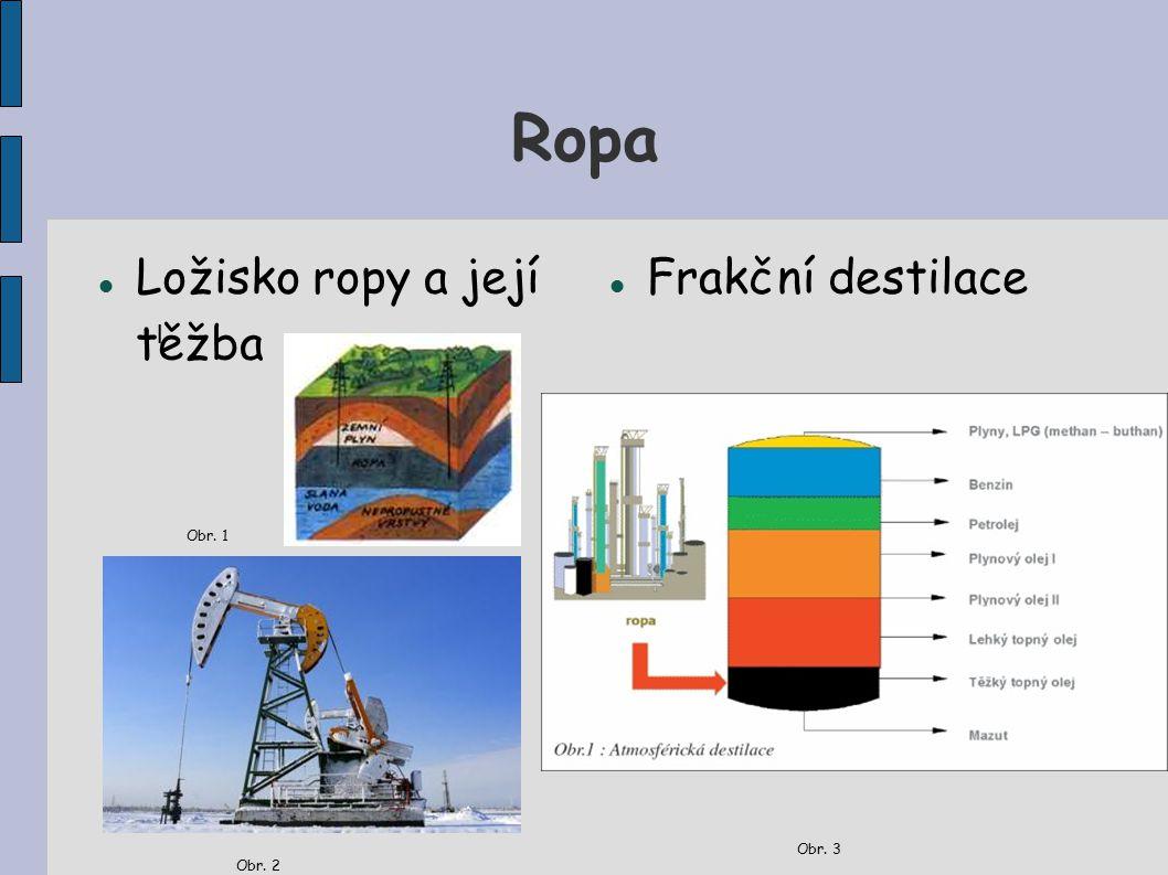 Ropa Ložisko ropy a její těžba Obr. 1 Obr. 2 Frakční destilace Obr. 3 l