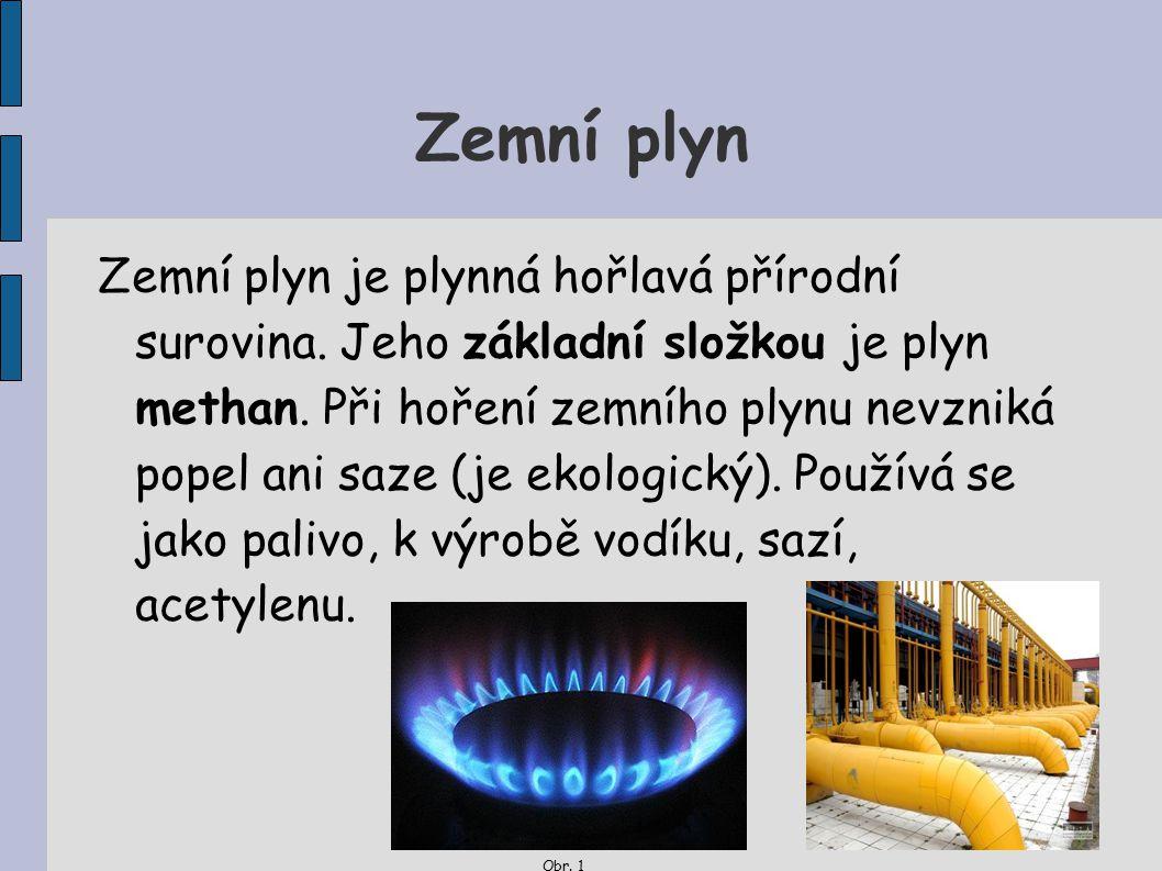 Zemní plyn Zemní plyn je plynná hořlavá přírodní surovina. Jeho základní složkou je plyn methan. Při hoření zemního plynu nevzniká popel ani saze (je