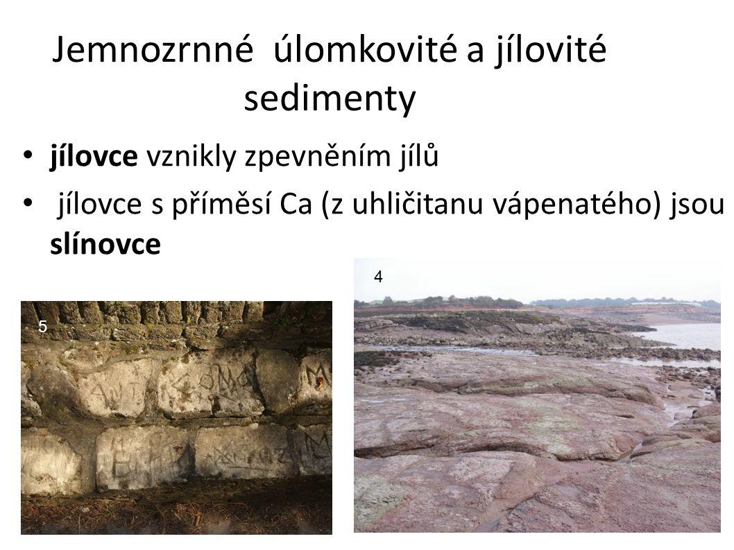 Jemnozrnné úlomkovité a jílovité sedimenty jílovce vznikly zpevněním jílů jílovce s příměsí Ca (z uhličitanu vápenatého) jsou slínovce 4 5