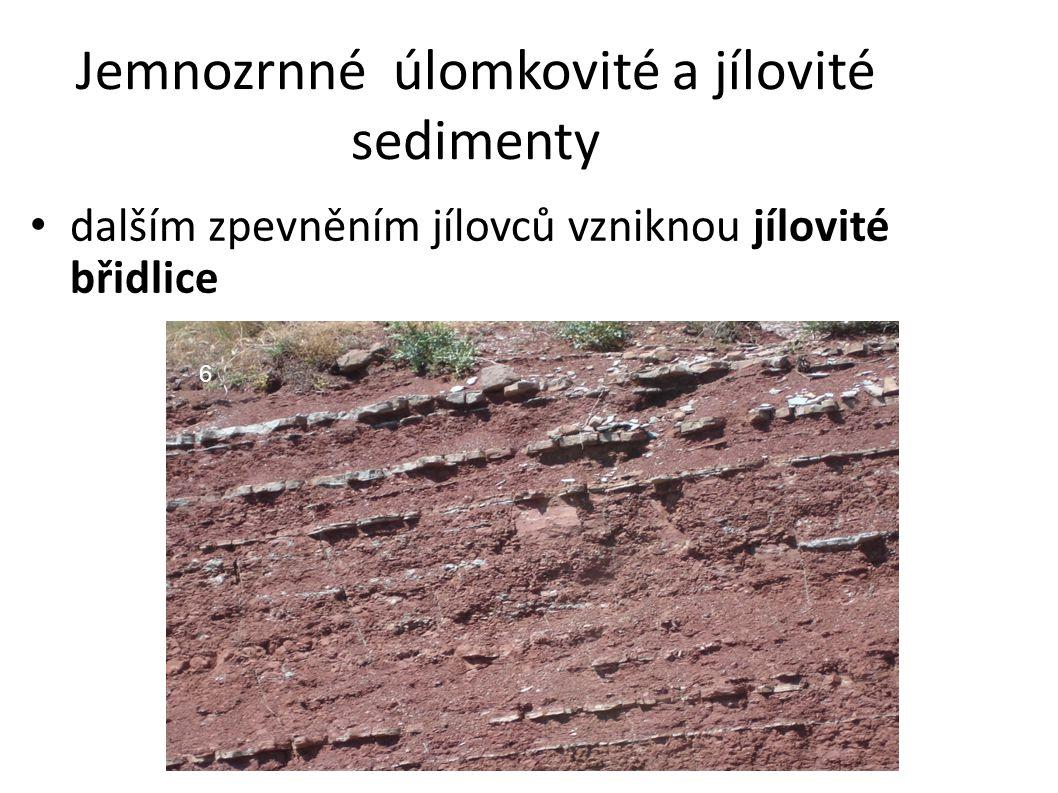 Jemnozrnné úlomkovité a jílovité sedimenty dalším zpevněním jílovců vzniknou jílovité břidlice 6