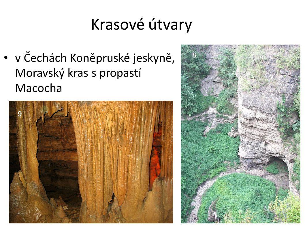 Krasové útvary v Čechách Koněpruské jeskyně, Moravský kras s propastí Macocha 8 9