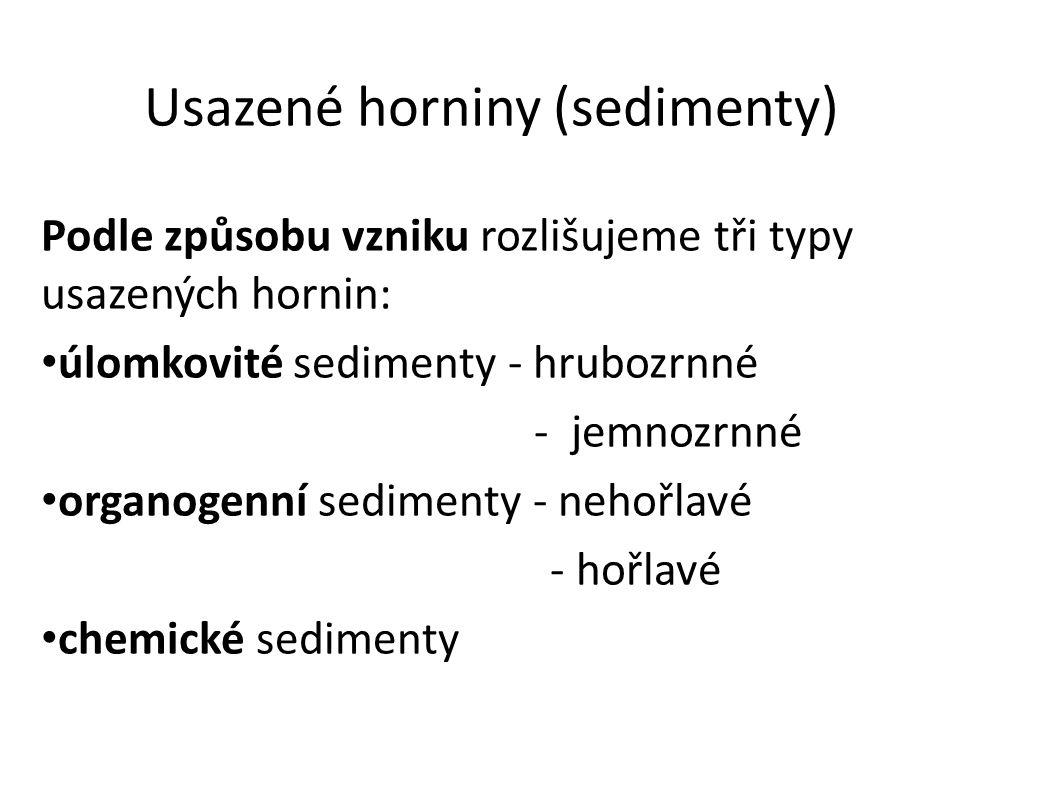 Usazené horniny (sedimenty) Podle způsobu vzniku rozlišujeme tři typy usazených hornin: úlomkovité sedimenty - hrubozrnné - jemnozrnné organogenní sedimenty - nehořlavé - hořlavé chemické sedimenty