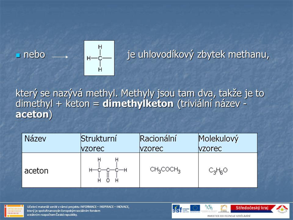 Název Strukturní vzorec Racionální vzorec Molekulový vzorec aceton nebo je uhlovodíkový zbytek methanu, nebo je uhlovodíkový zbytek methanu, který se