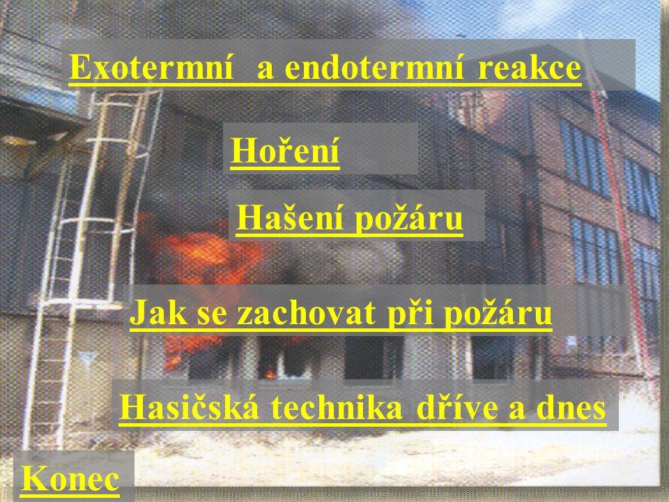 Hoření Hašení požáru Jak se zachovat při požáru Exotermní a endotermní reakce Hasičská technika dříve a dnes Konec