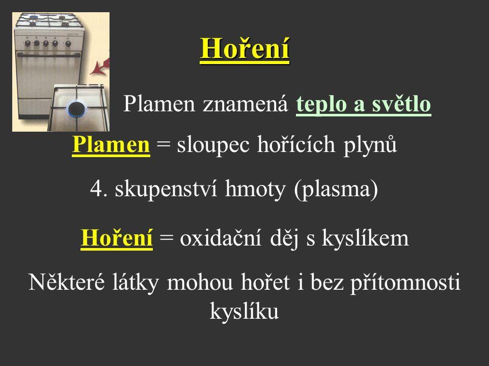 Hoření Plamen znamená teplo a světlo Plamen = sloupec hořících plynů 4. skupenství hmoty (plasma) Hoření = oxidační děj s kyslíkem Některé látky mohou