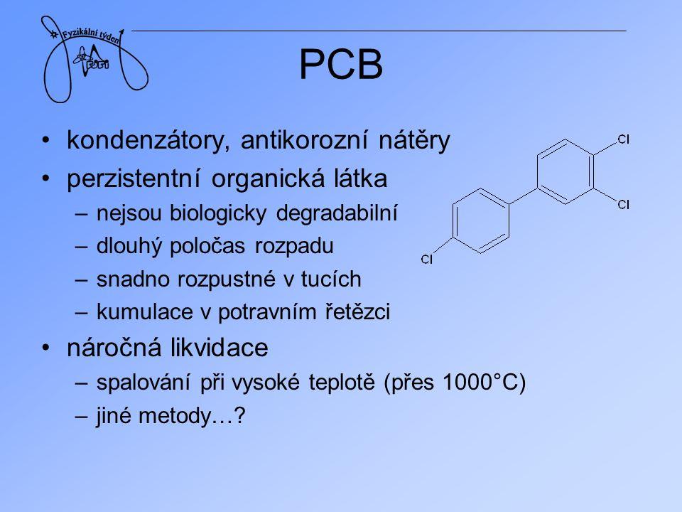 PCB kondenzátory, antikorozní nátěry perzistentní organická látka –nejsou biologicky degradabilní –dlouhý poločas rozpadu –snadno rozpustné v tucích –
