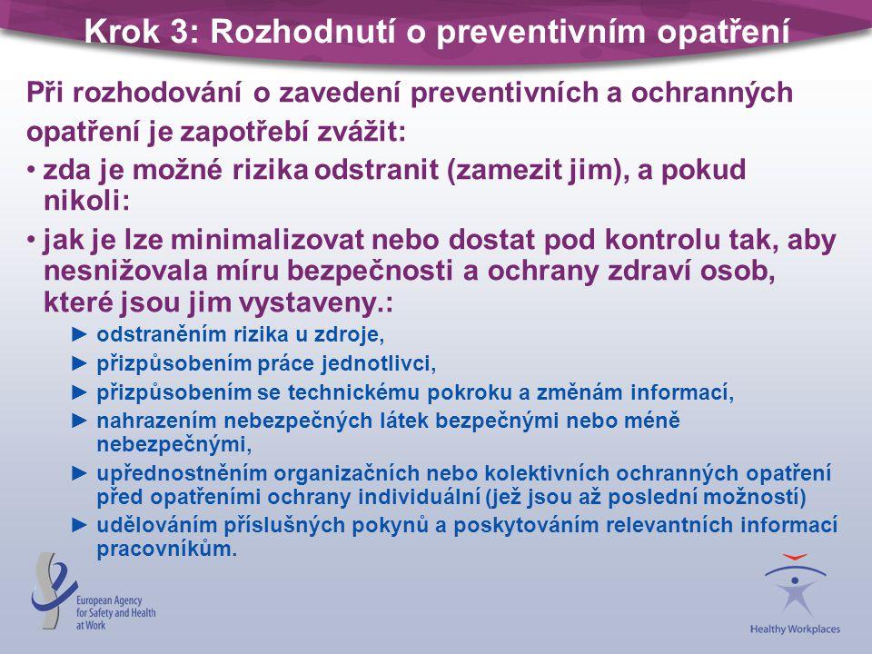 Krok 3: Rozhodnutí o preventivním opatření Při rozhodování o zavedení preventivních a ochranných opatření je zapotřebí zvážit: zda je možné rizika ods