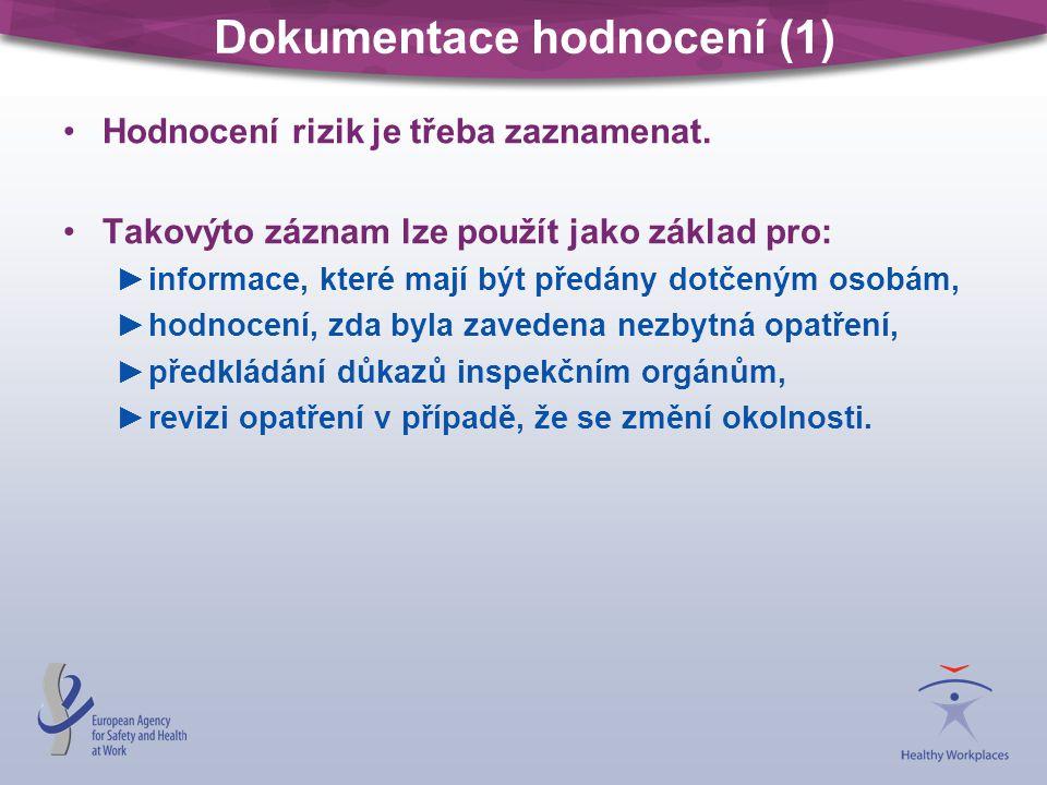 Dokumentace hodnocení (1) Hodnocení rizik je třeba zaznamenat. Takovýto záznam lze použít jako základ pro: ►informace, které mají být předány dotčeným