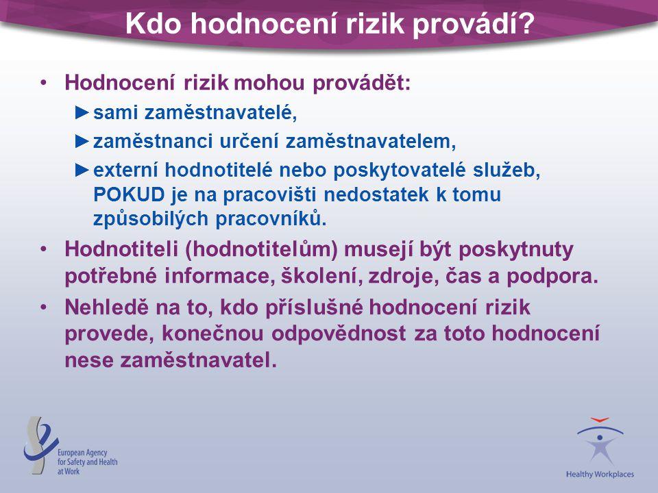 Dokumentace hodnocení (2) Doporučuje se zaznamenat alespoň tyto údaje: jméno (jména) a funkci (funkce) osoby (osob) provádějící (provádějících) šetření, zjištěná nebezpečí a rizika, skupiny pracovníků, které jsou vystaveny obzvláštním rizikům, odhad / vyhodnocení rizik, nezbytná preventivní a ochranná opatření, podrobnosti o zavedení opatření (kdo co kdy dělá), podrobnosti o účasti pracovníků a jejich zástupců na postupu hodnocení rizik.