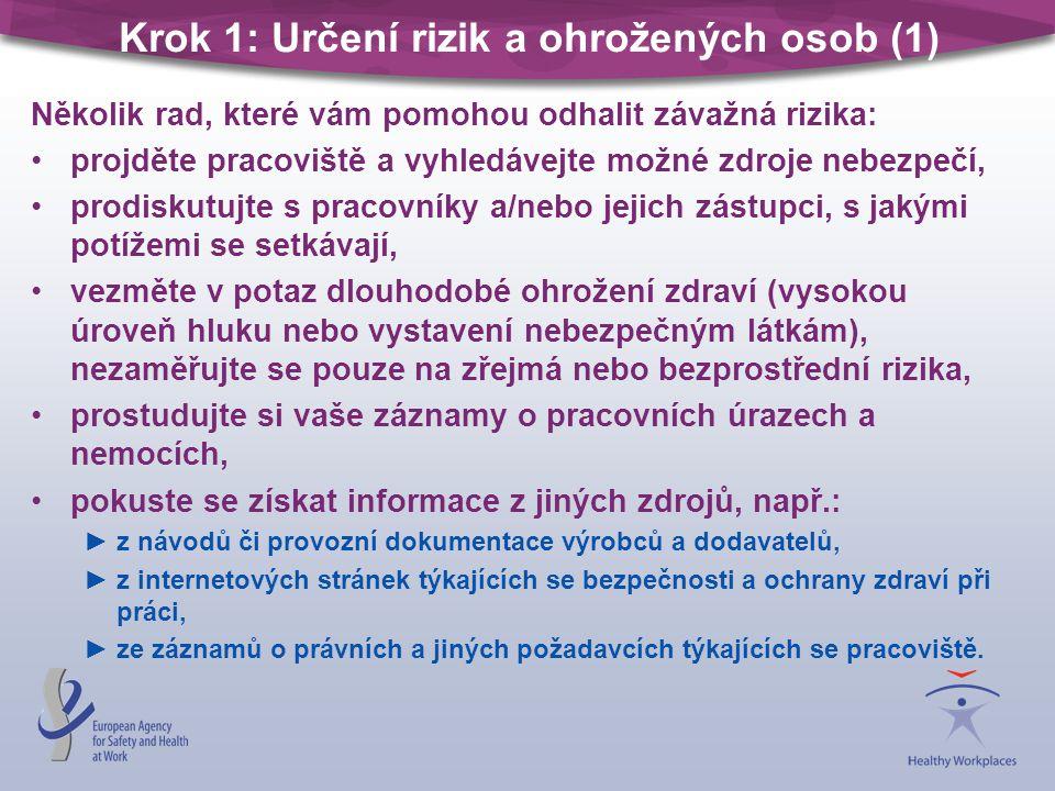 Krok 1: Určení rizik a ohrožených osob (1) Několik rad, které vám pomohou odhalit závažná rizika: projděte pracoviště a vyhledávejte možné zdroje nebezpečí, prodiskutujte s pracovníky a/nebo jejich zástupci, s jakými potížemi se setkávají, vezměte v potaz dlouhodobé ohrožení zdraví (vysokou úroveň hluku nebo vystavení nebezpečným látkám), nezaměřujte se pouze na zřejmá nebo bezprostřední rizika, prostudujte si vaše záznamy o pracovních úrazech a nemocích, pokuste se získat informace z jiných zdrojů, např.: ►z návodů či provozní dokumentace výrobců a dodavatelů, ►z internetových stránek týkajících se bezpečnosti a ochrany zdraví při práci, ►ze záznamů o právních a jiných požadavcích týkajících se pracoviště.
