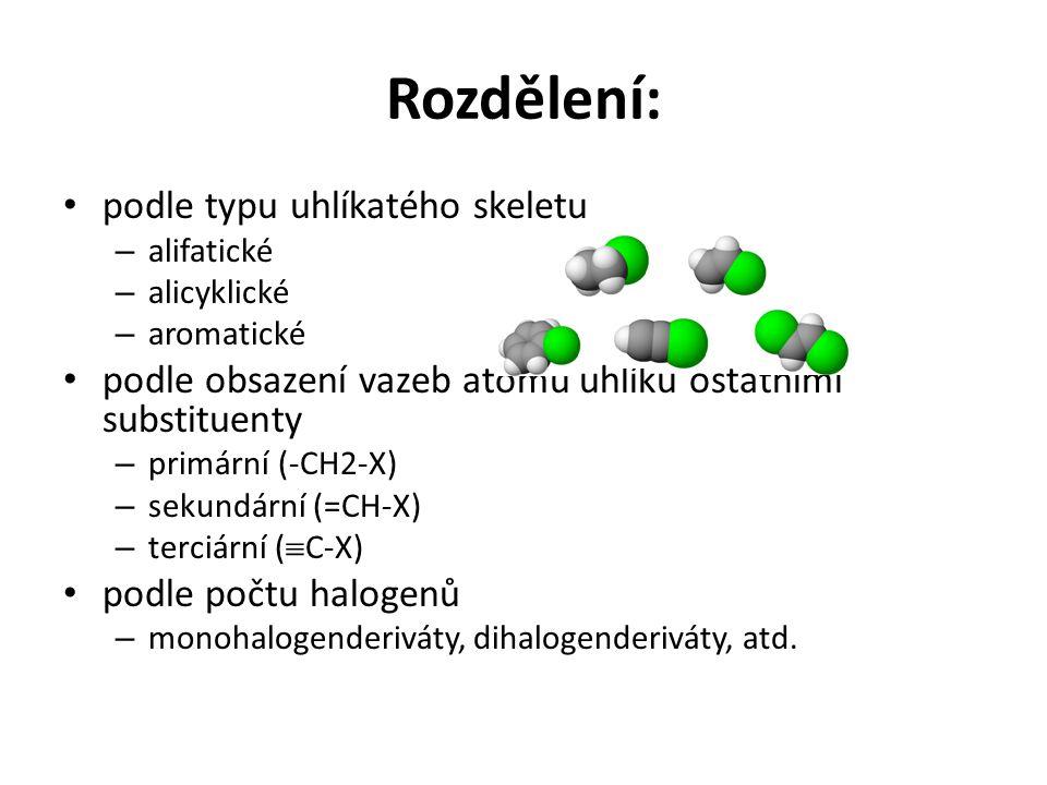 Rozdělení: podle typu uhlíkatého skeletu – alifatické – alicyklické – aromatické podle obsazení vazeb atomů uhlíku ostatními substituenty – primární (