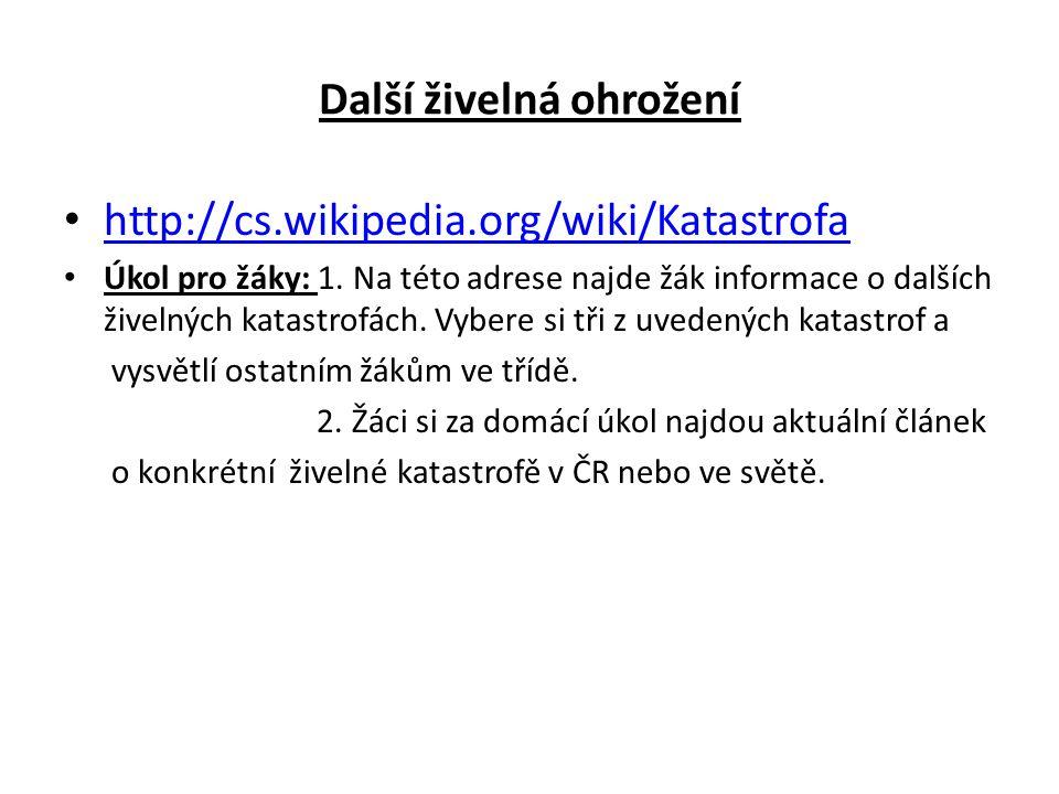 Další živelná ohrožení http://cs.wikipedia.org/wiki/Katastrofa Úkol pro žáky: 1.
