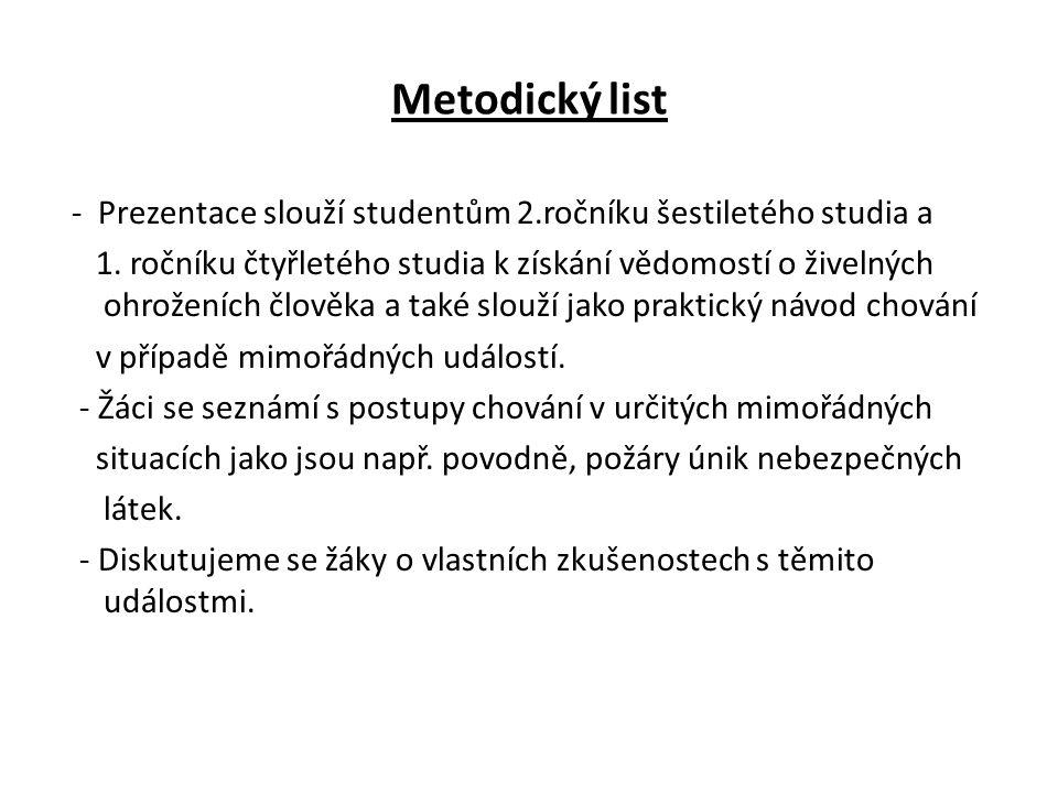 Metodický list - Prezentace slouží studentům 2.ročníku šestiletého studia a 1.