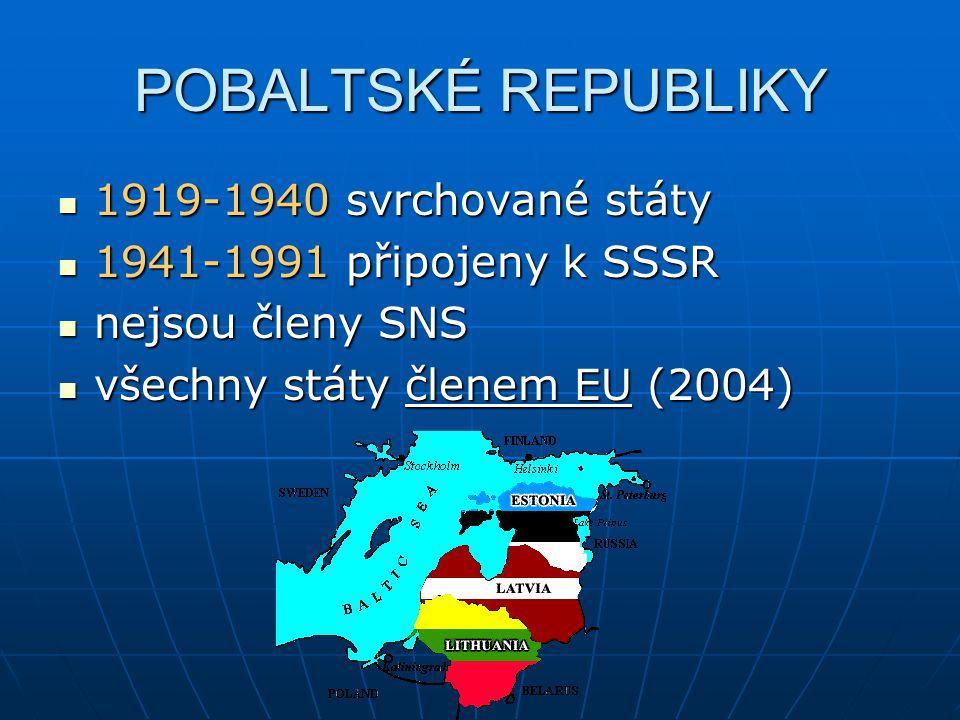 1919-1940 svrchované státy 1919-1940 svrchované státy 1941-1991 připojeny k SSSR 1941-1991 připojeny k SSSR nejsou členy SNS nejsou členy SNS všechny státy členem EU (2004) všechny státy členem EU (2004)