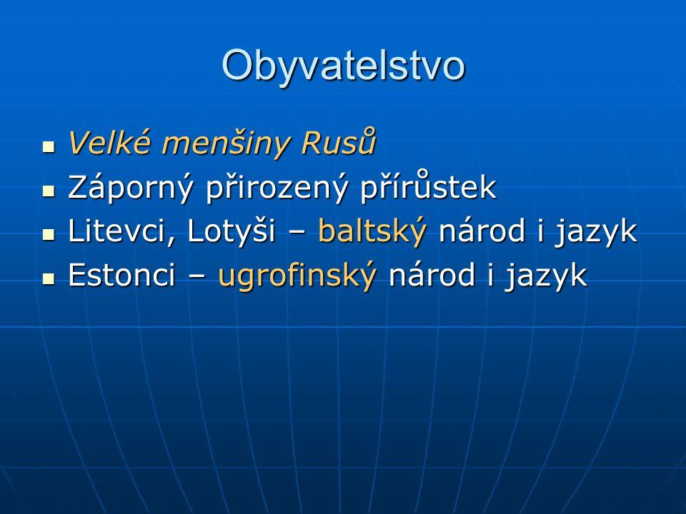 Obyvatelstvo Velké menšiny Rusů Velké menšiny Rusů Záporný přirozený přírůstek Záporný přirozený přírůstek Litevci, Lotyši – baltský národ i jazyk Lit
