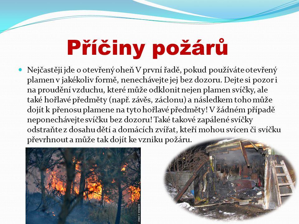 Příčiny požárů Nejčastěji jde o otevřený oheň V první řadě, pokud používáte otevřený plamen v jakékoliv formě, nenechávejte jej bez dozoru.