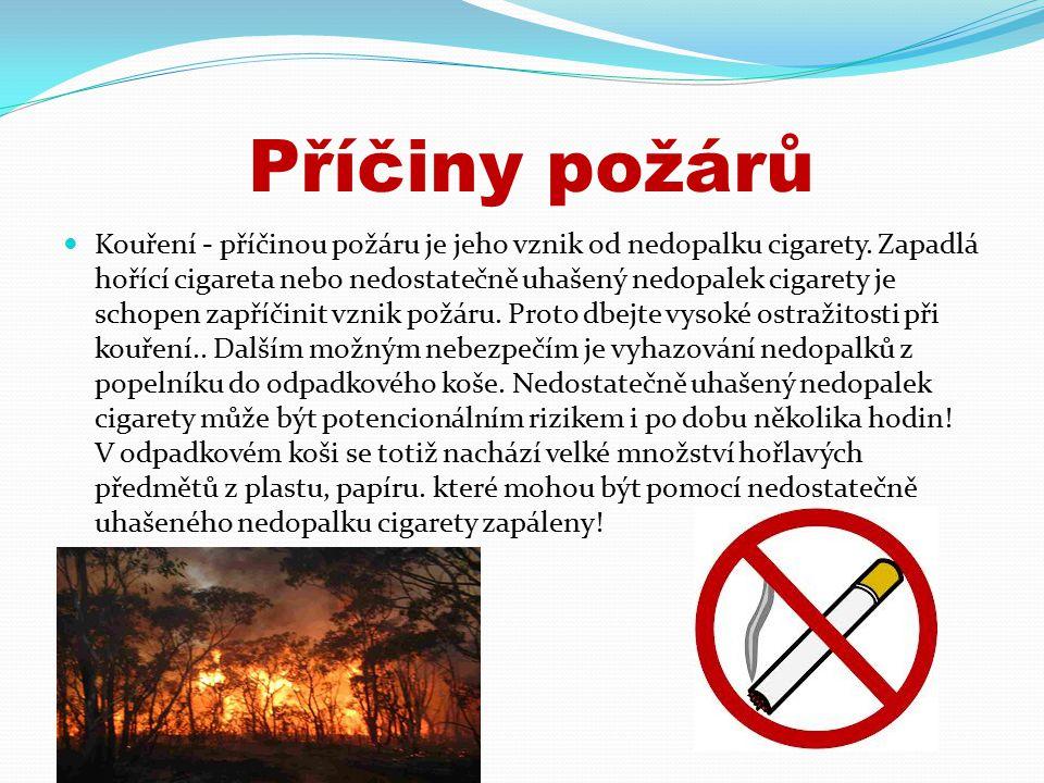 Příčiny požárů Kouření - příčinou požáru je jeho vznik od nedopalku cigarety.