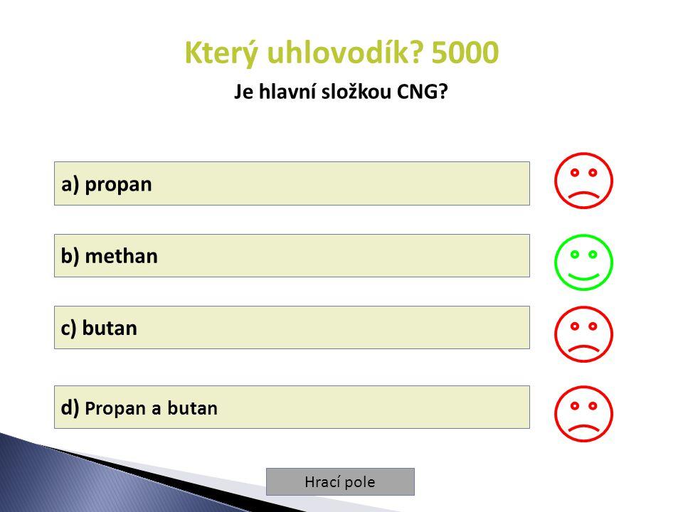 Hrací pole Který uhlovodík.5000 Je hlavní složkou CNG.