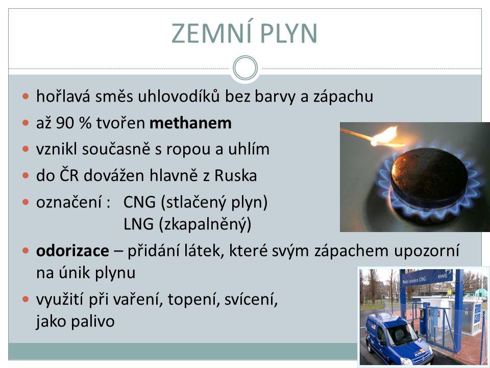 ZEMNÍ PLYN hořlavá směs uhlovodíků bez barvy a zápachu až 90 % tvořen methanem vznikl současně s ropou a uhlím do ČR dovážen hlavně z Ruska označení :