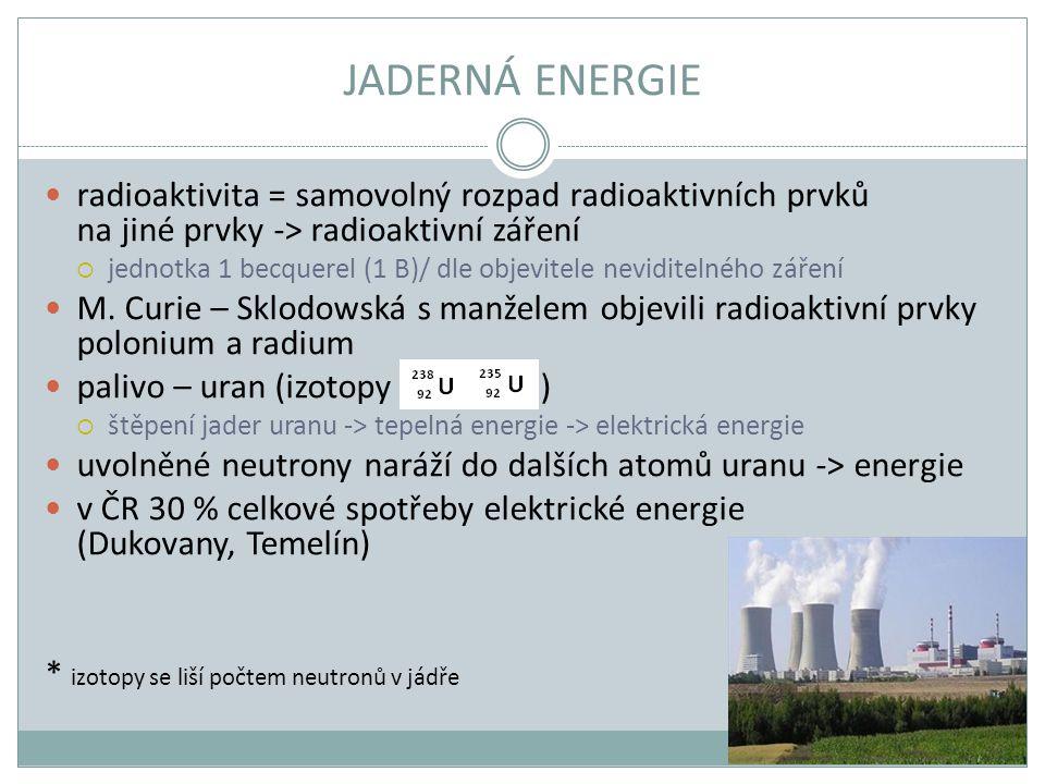 JADERNÁ ENERGIE radioaktivita = samovolný rozpad radioaktivních prvků na jiné prvky -> radioaktivní záření  jednotka 1 becquerel (1 B)/ dle objevitel