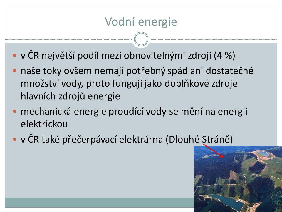 Vodní energie v ČR největší podíl mezi obnovitelnými zdroji (4 %) naše toky ovšem nemají potřebný spád ani dostatečné množství vody, proto fungují jak
