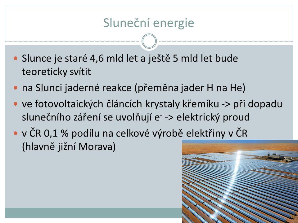 Sluneční energie Slunce je staré 4,6 mld let a ještě 5 mld let bude teoreticky svítit na Slunci jaderné reakce (přeměna jader H na He) ve fotovoltaick