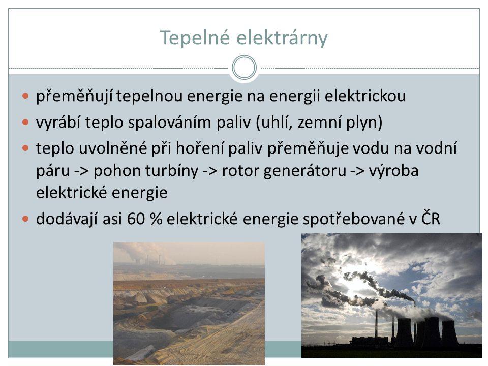Tepelné elektrárny přeměňují tepelnou energie na energii elektrickou vyrábí teplo spalováním paliv (uhlí, zemní plyn) teplo uvolněné při hoření paliv