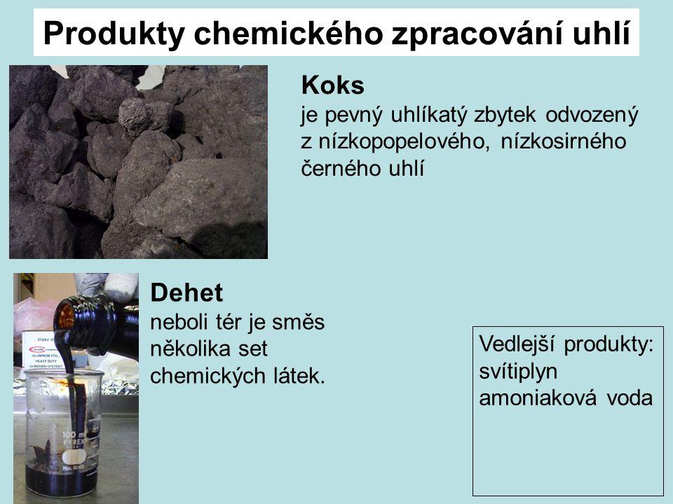 Produkty chemického zpracování uhlí Vedlejší produkty: svítiplyn amoniaková voda Koks je pevný uhlíkatý zbytek odvozený z nízkopopelového, nízkosirného černého uhlí Dehet neboli tér je směs několika set chemických látek.