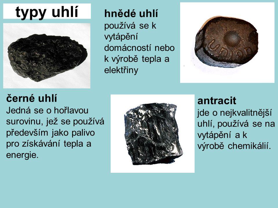 typy uhlí černé uhlí Jedná se o hořlavou surovinu, jež se používá především jako palivo pro získávání tepla a energie.