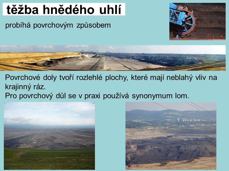 těžba hnědého uhlí probíhá povrchovým způsobem Povrchové doly tvoří rozlehlé plochy, které mají neblahý vliv na krajinný ráz.