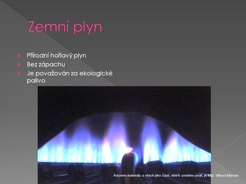  Přírodní hořlavý plyn  Bez zápachu  Je považován za ekologické palivo Autorem materiálu a všech jeho částí, není-li uvedeno jinak, je Mgr. Vlková
