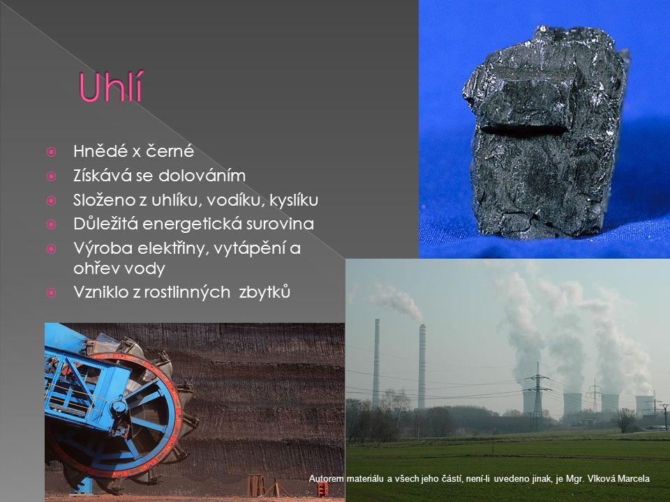  Hnědé x černé  Získává se dolováním  Složeno z uhlíku, vodíku, kyslíku  Důležitá energetická surovina  Výroba elektřiny, vytápění a ohřev vody 