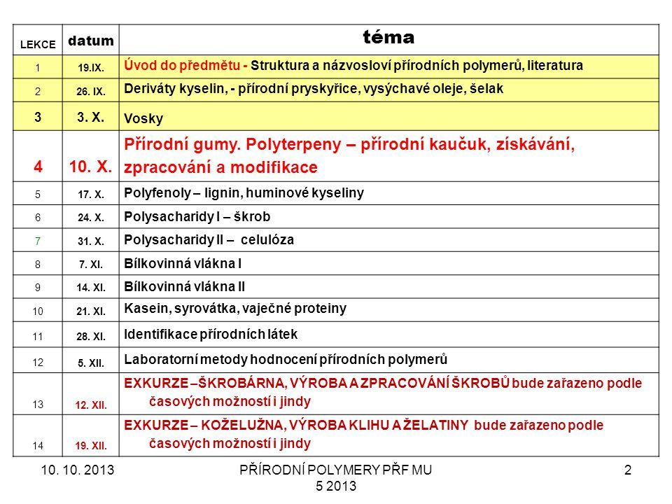 PŘÍRODNÍ POLYMERY PŘF MU 5 2013 2 LEKCE datum téma 119.IX. Úvod do předmětu - Struktura a názvosloví přírodních polymerů, literatura 226. IX. Deriváty