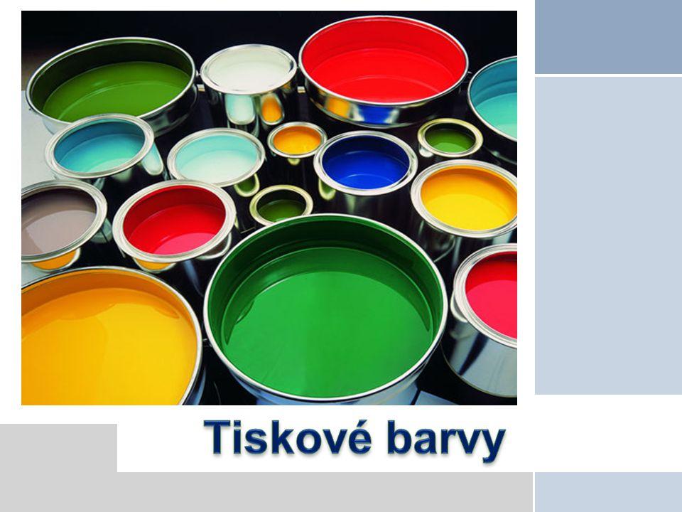 Tiskové barvy Tiskové barvy slouží jako prostředek přenosu informace z tiskové formy na potiskovaný materiál.
