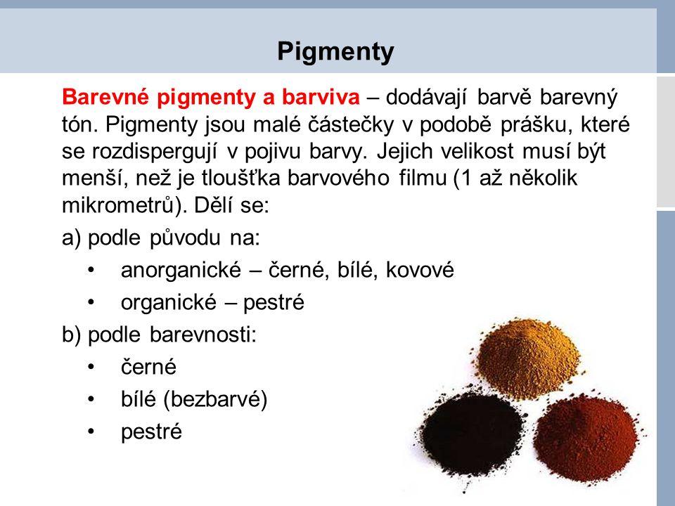 Pigmenty anorganické Černé pigmenty – základní surovinou jsou saze, vznikají spalováním uhlíkatých látek a podle použitých surovin se dělí: plamenové (z dehtových olejů), lampové (minerální oleje), plynové (zemní plyn).