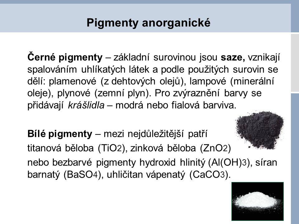 Pigmenty organické Organické pigmenty - používají se pro pestré barvy – dělí se:  azopigmenty – žluté, oranžové, červené  ftalocianinové – modré, zelené  fanálové – fialové, modré, zelené  antrachinonové – fialové, modré, červené  chinakridonové – červené, fialové Složení barev pro čtyřbarvotisk CMYK:  C - azurová – ftalocianinové pigmenty  M – purpurová – chinakridonová červeň  Y – žlutá – azopigmenty  K – černá – saze + krášlidla